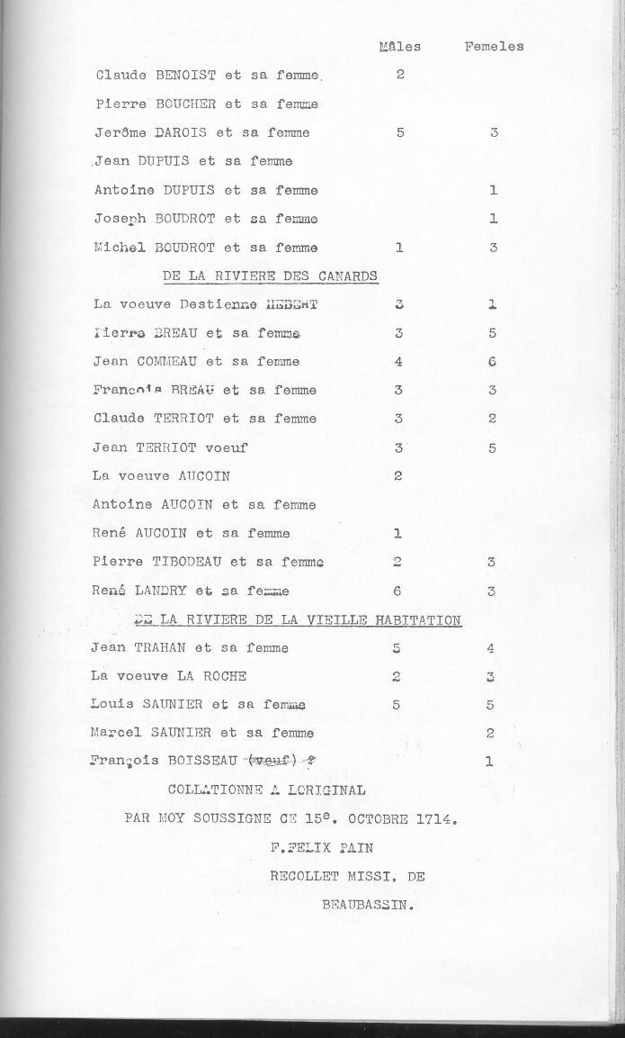 recensement les Mines 1714-5
