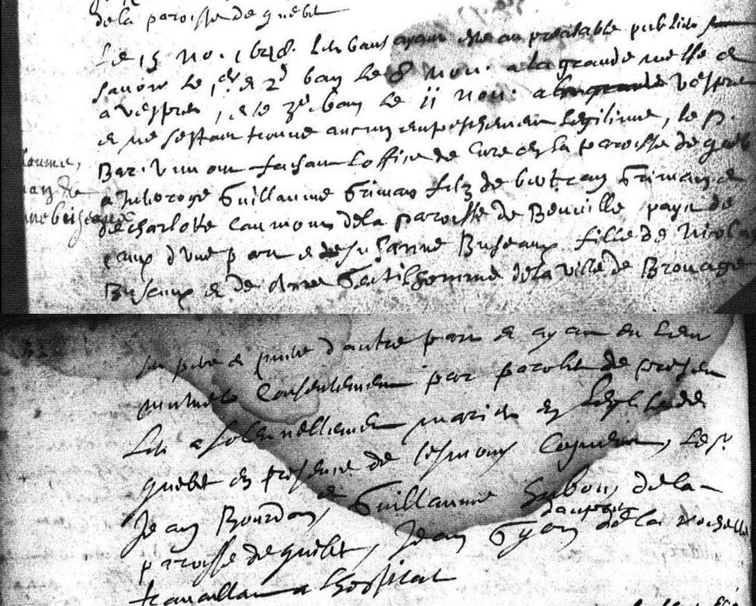 Marriage de Suzanne Bugeau et Guillaume Griveran -  15 Novembre 1648